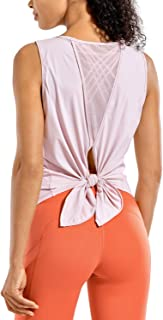 CRZ YOGA Women's Light and Stretch Activewear Sleeveless Shirts Mesh Yoga Open Tie Back Workout Tank Tops-Soft