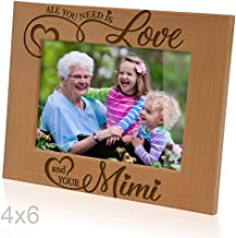 Kate Posh - All You Need is Love your Mimi Engraved Natural Wood Picture Frame, Grandparent's Day Gifts, Grandma Gifts, Nana, (4x6-Horizontal)