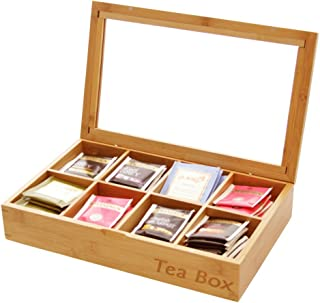 Tea Box Storage Organiser 8 Compartments, Made of Bamboo