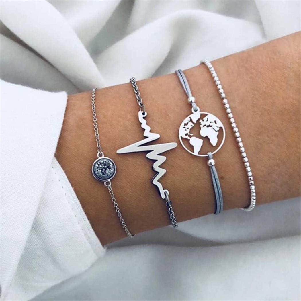 CH 4Pcs Women Bracelet Set Cuff Chain Creative Multilayer Bracelets Elegant Jewelry