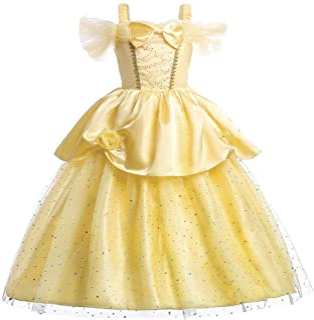 Little Girls Princess Belle Costume Off Shoulder Layered Dress up