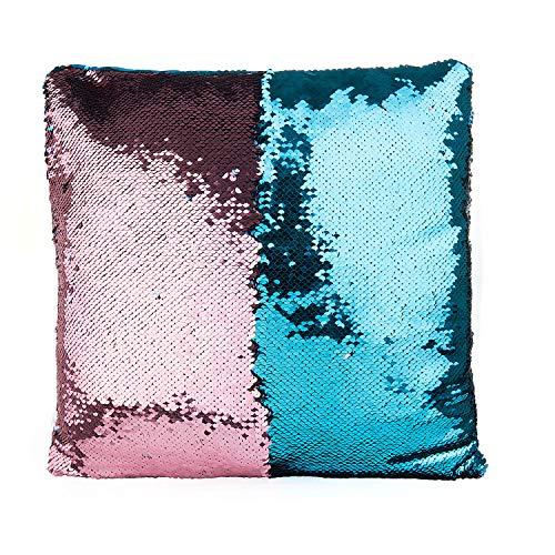 SenPuSi Funda de Cojín con Lentejuelas Sirena Dos Colores Mágica Magia Reversible Funda de Almohada Decorativo sofá, Coches y sillas 40x40cm/ 16x16 Pulgadas (Azul)