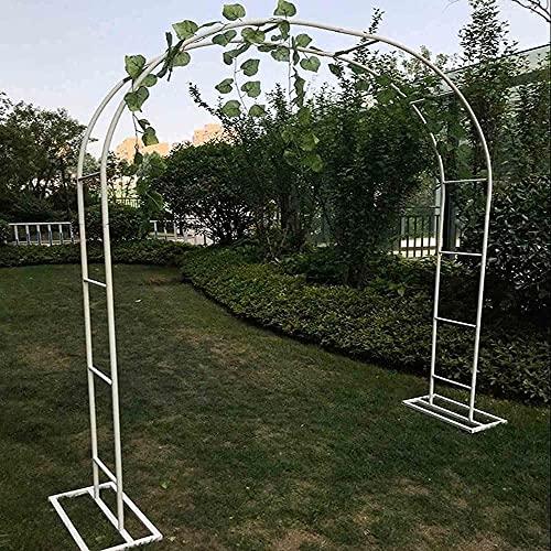 WXking Arcos de jardín para jardín con arcos de hierro y flores arqueadas para varias plantas trepadoras al aire libre, jardín, césped y patio trasero (color: blanco, tamaño: 240 x 40 x 220 cm)