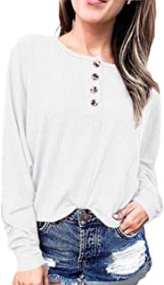 Women's Knit Tunic Tops Loose Long Sleeve Button Up V Neck Henley Shirts