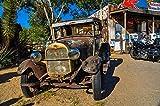 VLIES Fototapete-VINTAGE CAR-(2600s)-300x223 cm-Tankstelle