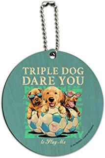 Triple Dog Dare You Puppies Soccer Round Wood Luggage ID Tag