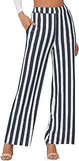 Women Casual Stripe Print Wide Leg Pants Leggings Black&White Daily Wear