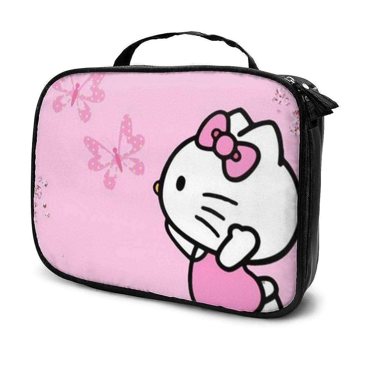 アダルト飛行場あいまいなDaitu蝶とキティ 化粧品袋の女性旅行バッグ収納大容量防水アクセサリー旅行