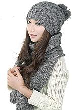 D&P Women's Girls Winter Warm Cozy Fashion Knitted Hat Beanie Scarf Set