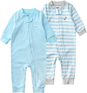 Baby Newborn 2 Pack Cotton Romper One Piece Boy Girl Long Sleeve Two Zipper Pajamas Jumpsuits