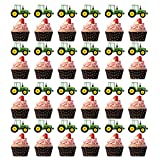 Farm Green Tractor Cupcake Toppers, Tractor Time Birthday Party Decorations Supplies for Baby Shower and Tractor Farm Theme Birthday Decorations-28Pcs