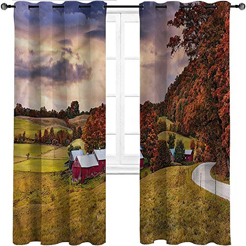 UNOSEKS LANZON Blackout Curtain Panels Landscape, Vermont USA Autumn Scene Window Panel Curtain Set You Can Stay Asleep in The Morning (2 Panels, W137 x L214 cm)