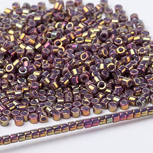 Cuentas de vidrio de Japón, pendientes redondos metálicos de varios colores para fiestas, 11/0, 3 gramos / lote, aproximadamente 600 piezas-DB29,3 gramos