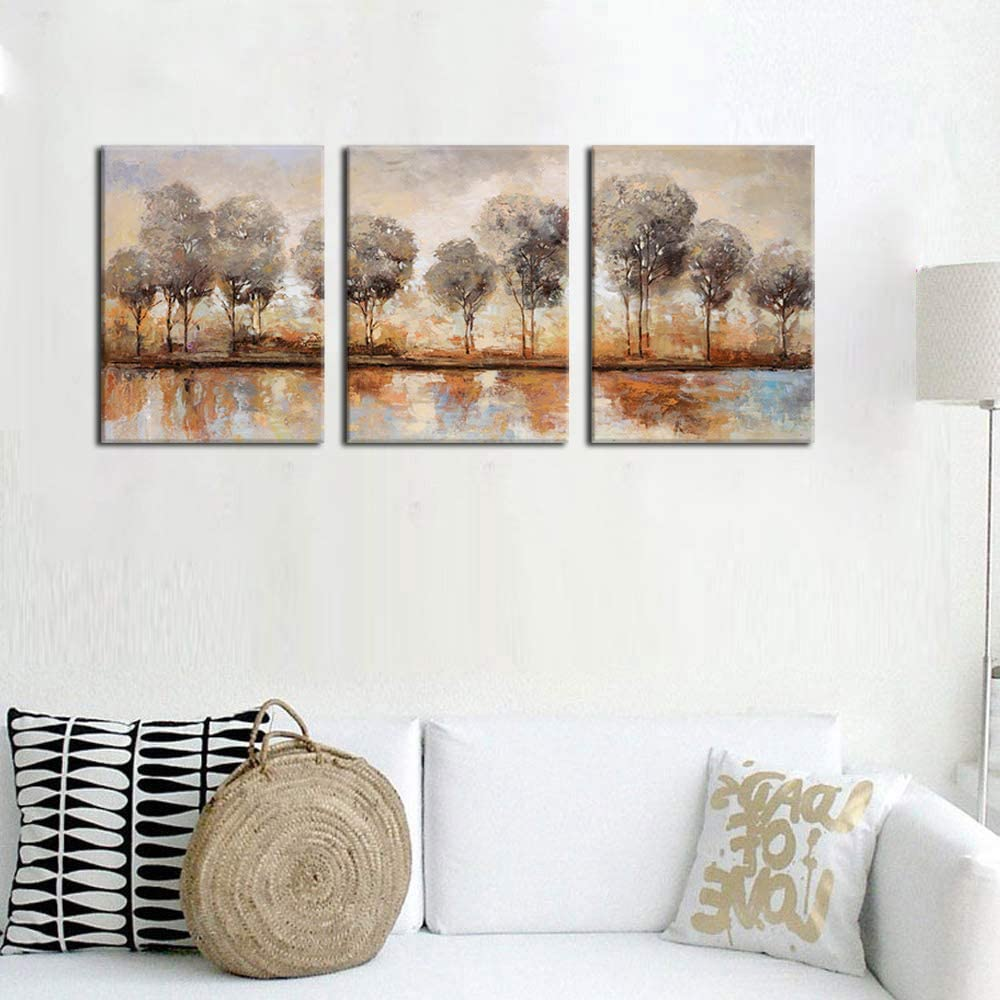 Buy Abstract Forest Wall Art Trees Lake Sunset Modern Landscape ...