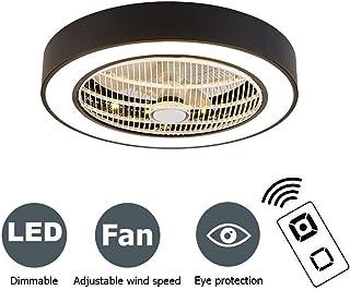 PPAMZ Ventilador de Techo Lámpara de Techo, con Luz y Mando a Distancia, Regulable 80W Ventilador Invisible, LED Ventilador Silencioso Guardería Lámpara de Techo, Ø50cm,Negro