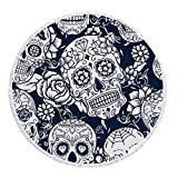 CHIYEEE Serviette de Plage Ronde Skull Tassel Beach Tapis de Yoga Écharpe Châle Tapisserie Couverture de Pique-Nique écharpe 150cm * 150cm (59'* 59')