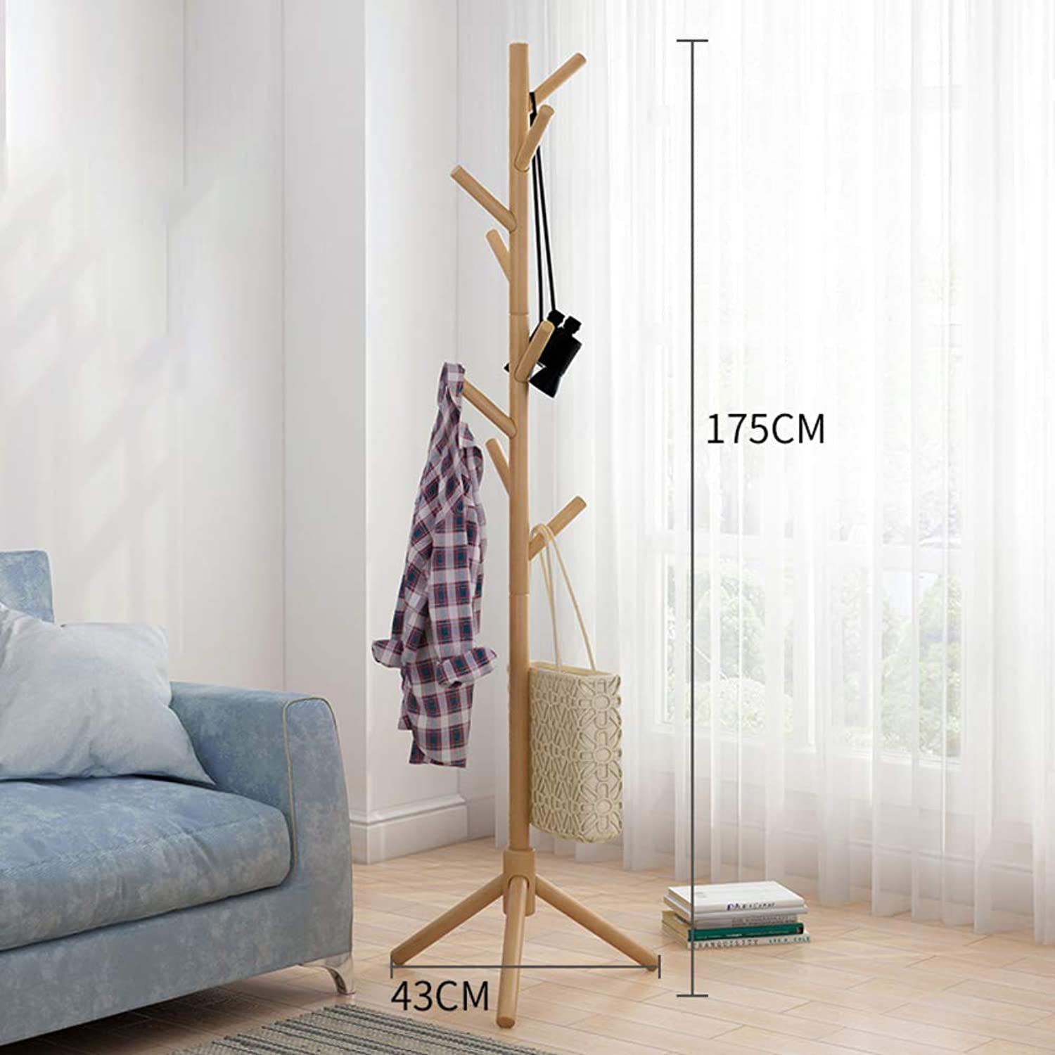 Free Standing Coat Rack, Tree-Shaped Display Coat Stand with 8 Hooks for Coats, Hats, Scarves, Clothes, and Handbags-G