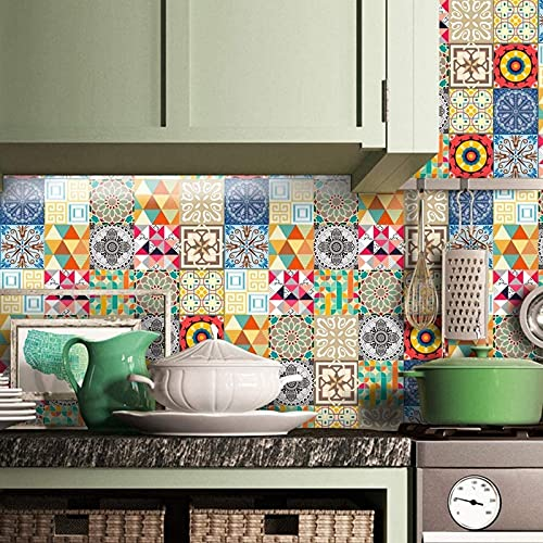 aipipl 12 Unids/Set Pegatinas de Azulejos de Pared, Adhesivo de Cemento Rojo Transferencias de Pared Mural Aseo Baño Cocina Decoración del Hogar, 15x15cm