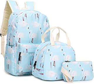 ZBK Flamingo Pattern Backpack For Girls,Laptop Backpack For Women,School Bag Set, With Lunch Bag And Pencil case-4 Colors