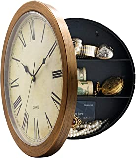 Plastic Wall Clock with Hidden Compartment,Brown,10''