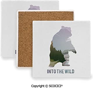 Ceramic Coasters with Cork Base, Prevent Furniture from Dirty and Scratched, Suitable for Kinds of Mugs and Cups,Cabin Decor,Wild Animals of Canada Survival in the Wild,3.9