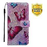 Boloker Kompatibel mit Huawei Honor Play 8A Hülle + Panzerglas Schutzfolie, Glitzer Flip Wallet Case mit Kartenhalter & Magnetverschluss Premium PU Leder Hülle Handyhülle (Schmetterling)