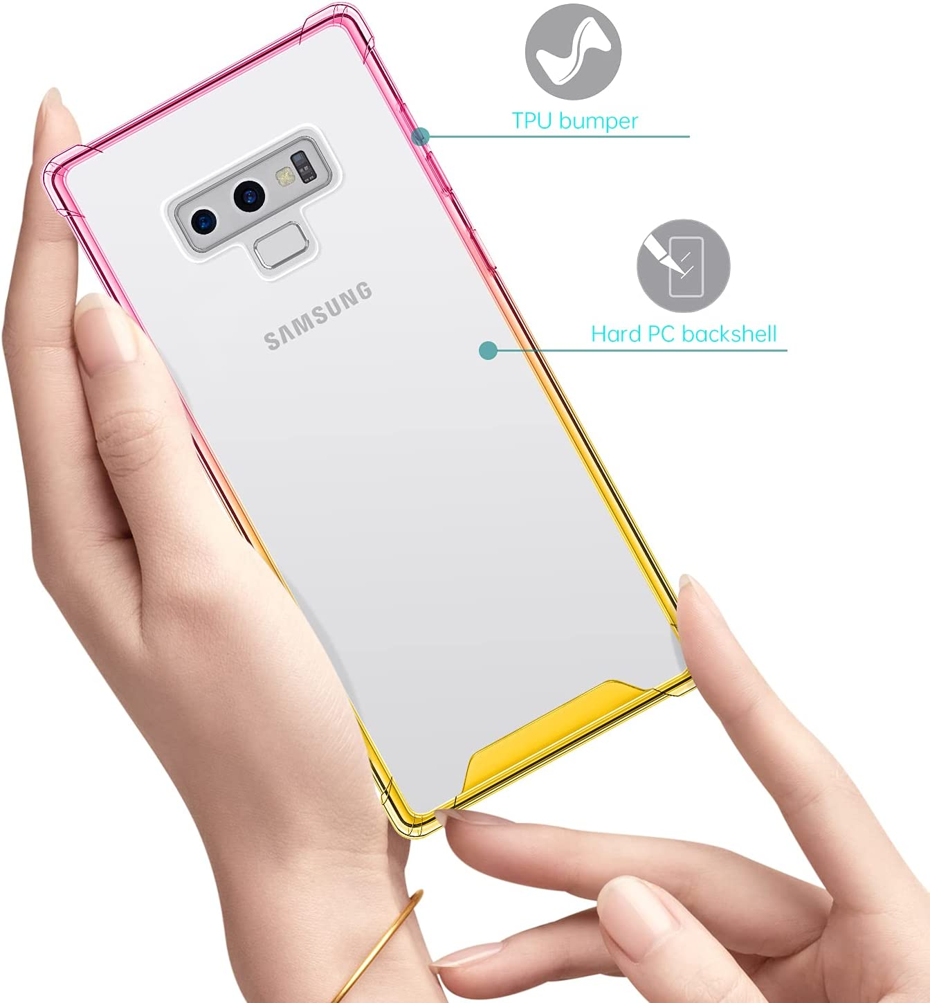 Salawat Galaxy Note 9 Case, Clear Cute Gradient Slim Phone Case Cover Reinforced TPU Bumper Hard PC Back Shockproof Protective Case for Samsung Galaxy Note 9 (Pink Gold)