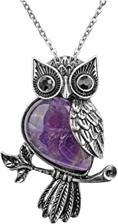 Owl Gifts Owl Necklace Healing Crystal Stones Pendant Necklaces for Women Men Natural Amethyst Rose Quartz Gemstone Jewelry for Reiki Spiritual Energy Lucky