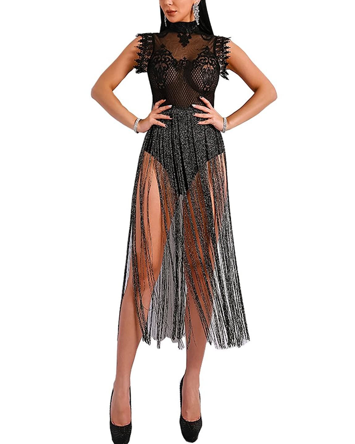 WRStore Women's Sexy Lace Sheer See Through Glitter Tassel Bodysuit Dress