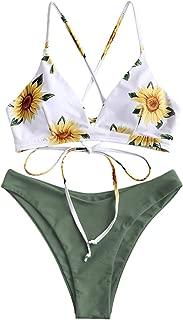 Women Lace up Braided Strap Bikini Set Padded V Neck High Leg Two Piece Swimsuit