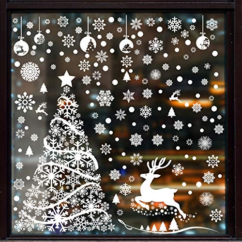 Aneco 270 Pieces Large Christmas Tree Window Clings White Reindeer Snowflake Xmas Window Decorations Stickers Reusable Christmas Window Door Decals for Christmas Window Display