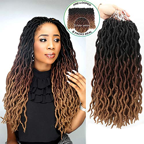 "Eliza Wavy Gypsy Locs Ombre Crochet Hair 18"" 8Packs/Lot Goddess Locs 100% Kanekalon Fiber Faux Locs African Roots Dreadlocs Synthetic Braiding Hair Extensions for Black Women(18"",OM3T30/27)"
