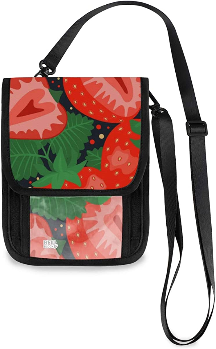 RFID Some reservation Blocking Travel Limited price Neck Wallet Strawberry Thanksgiving Happy -