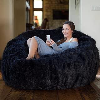Comfy Sacks 5 ft Memory Foam Bean Bag Chair, Black Furry