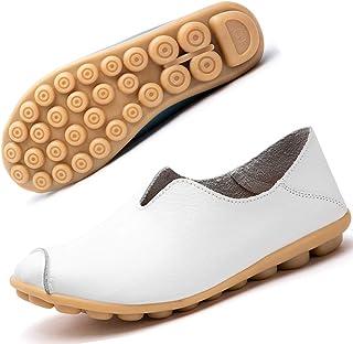Mocassins Femme Cuir Chaussures Casual Plates Bateau Loafers Chaussures De Conduite Printemps et été Sandales 35-44