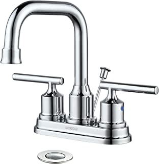 WOWOW Bathroom Faucet Chrome 2 Handle 4 inch Bathroom Sink Faucet with Drain Assembly High Arc Vanity Faucet Lead-free Leak-free Basin Faucet Commercial Bath Faucets Modern Lavatory Centerset Stainles