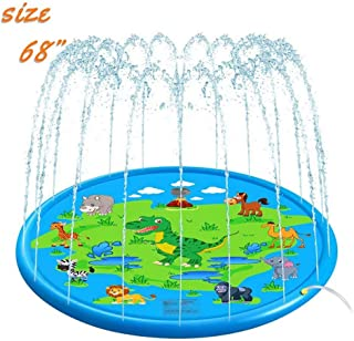 """Alimiriam Sprinkler Splash Pad for Kids and Wading Pool 68"""" Outdoor Inflatable Sprinkler Water Toys for 2 3 4 5 6 7 8 9 10 Years Old Toddler Boys and Girls (Cute Dinosaur)"""