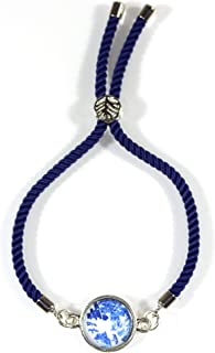 'Blue Willow', Willow Ware Blue and White Cabochon Cord Bracelet, 7 Inches Adjustable
