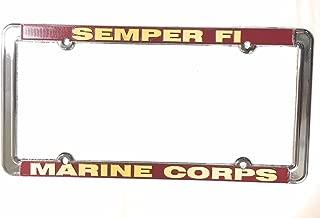 License plate frame USMC Marine Corps Metal Semper FI Raised Letters, Chrome