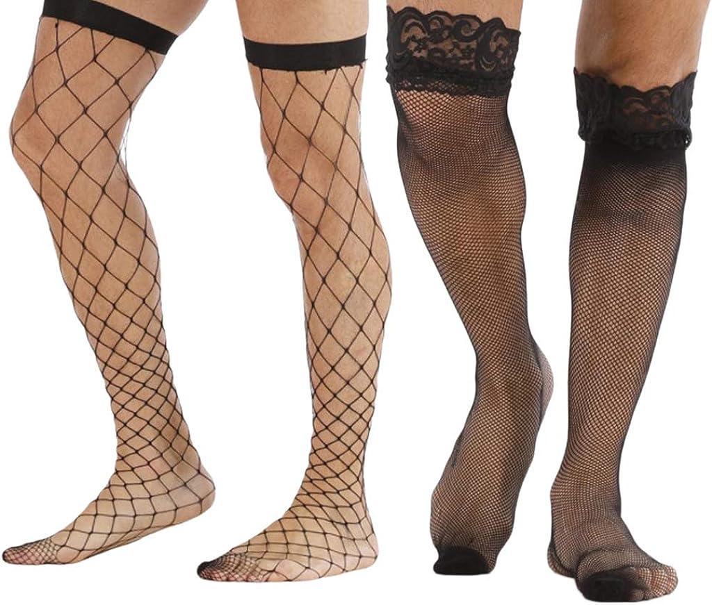 shamjina 2 Pairs Set Adult's Black Mesh Stockings Hosiery Tights Socks Prop