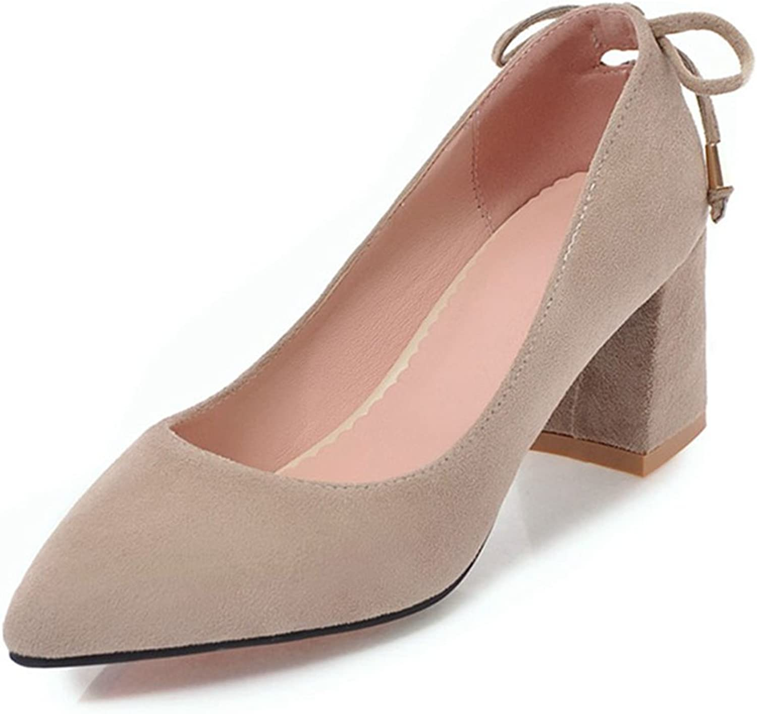 York Zhu Women Pumps, Sexy Flock Bow-Knot Pointed Toe Thin Heel Slip-on shoes