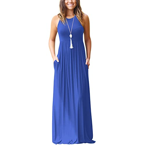 5055b74568f3 SVALIY Summer Womens Sleeveless Tunic Causal Long Maxi Beach Dresses with  Pockets