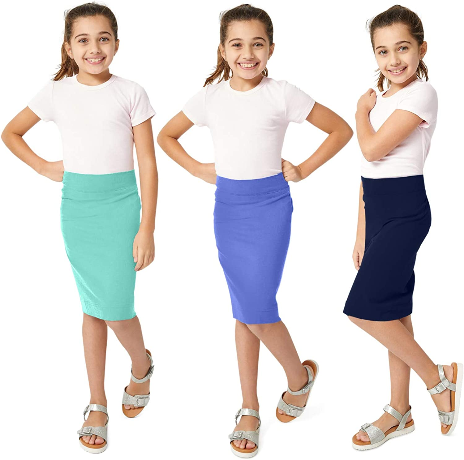 KIDPIK 3-Pack Pencil Skirts - Knee Length Skirt for Girls 4 Years & Up - Comfy Modest Clothing - 3 Colors/Set -: Clothing