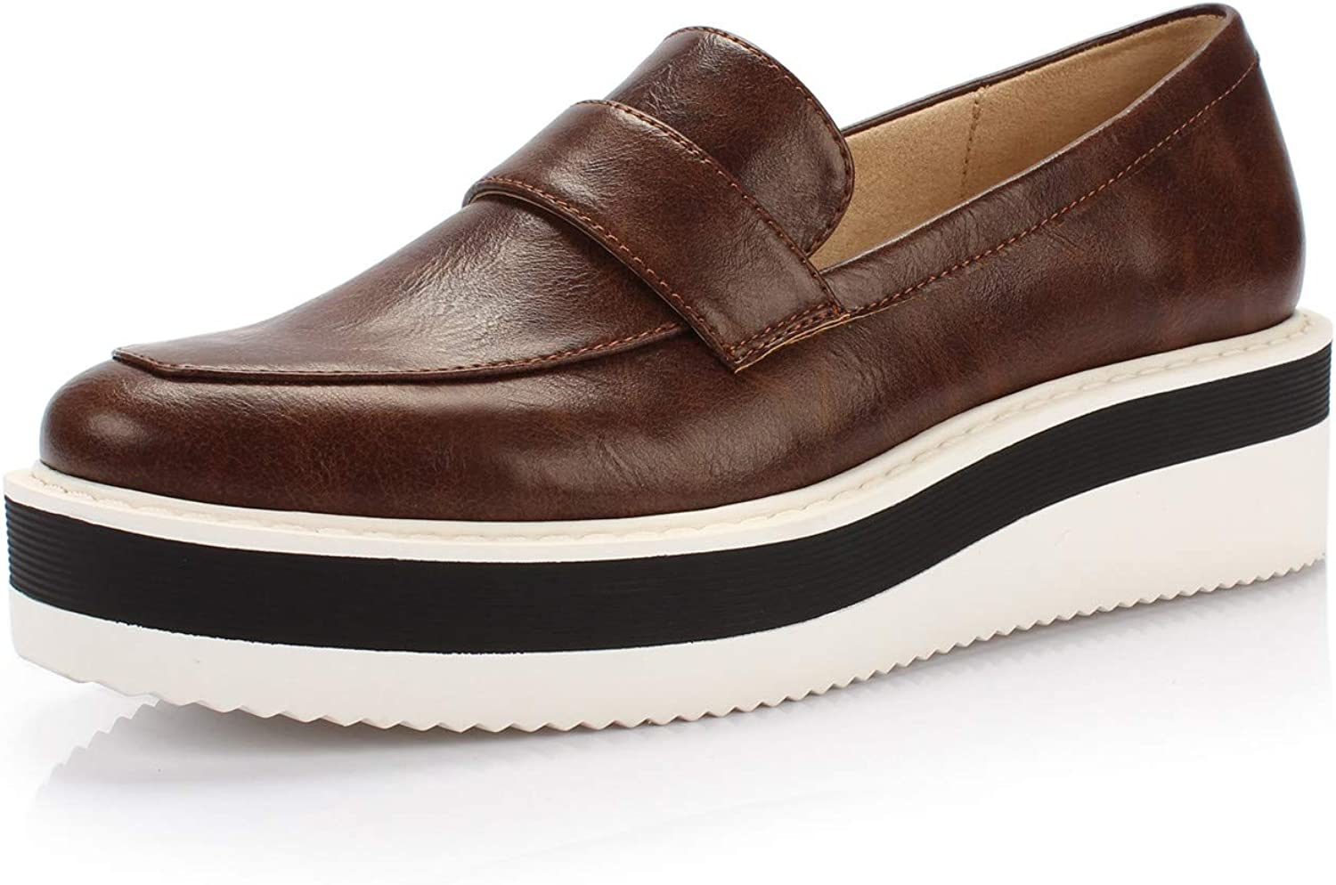 DUNION Women's Career Max 88% OFF Almond Toe Penny Loafers Sne Fashion Wedge supreme