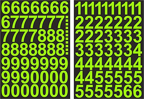 Zahlen Aufkleber 4cm Hoch - in Neon Grün - 101 KLEBEZAHLEN - Selbstklebende Ziffern und Nummern 0-9 - Ideal für den Außenbereich da Wasser und Wetterfest