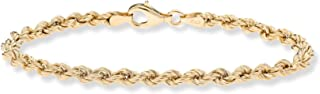 18K Gold Over Sterling Silver 4mm Classic Rope Chain Link Bracelet for Women Men, 6.5, 7, 7.5, 8, 8.5 Inch 925 Made in Italy