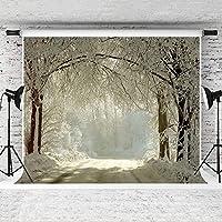 新しい2.1×1.5mの冬の背景写真スタジオの背景のための雪の凍った森の背景