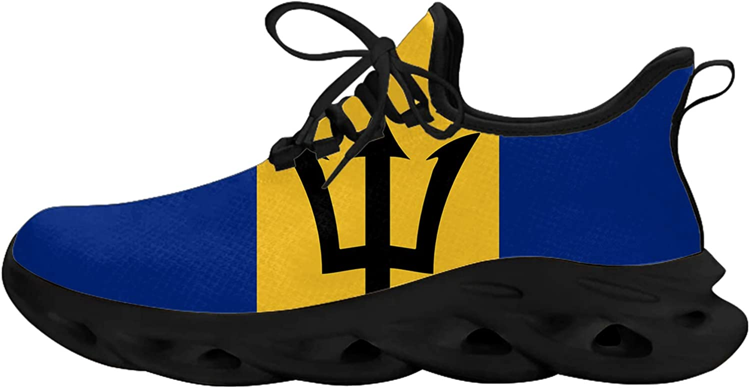 Trident Barbados Flag Unisex Adult Athletic Walking Blade Running Tennis Shoes Fashion Sneakers