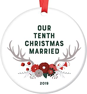 "Tenth Married Christmas Ornament 2019 10th Anniversary Gift Keepsake 10 Years Together Mr & Mrs Husband Wife Dated Tree Decoration Woodland Boho Floral Antlers Ceramic 3"" Flat Circle Red Ribbon"