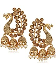 MEENAZ Traditional Gold Plated Party wear Pearl Moti Peacock Jhumki Jhumka Earrings for Women Girl Stylish latest design